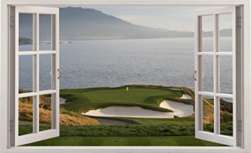24u2033 Window Landscape Scene Nature View PEBBLE BEACH GOLF COURSE HOLE 7 #1  OPEN WHITE Wall Sticker Decal Room Home Office Art Décor Den Mural Graphic  SMALL
